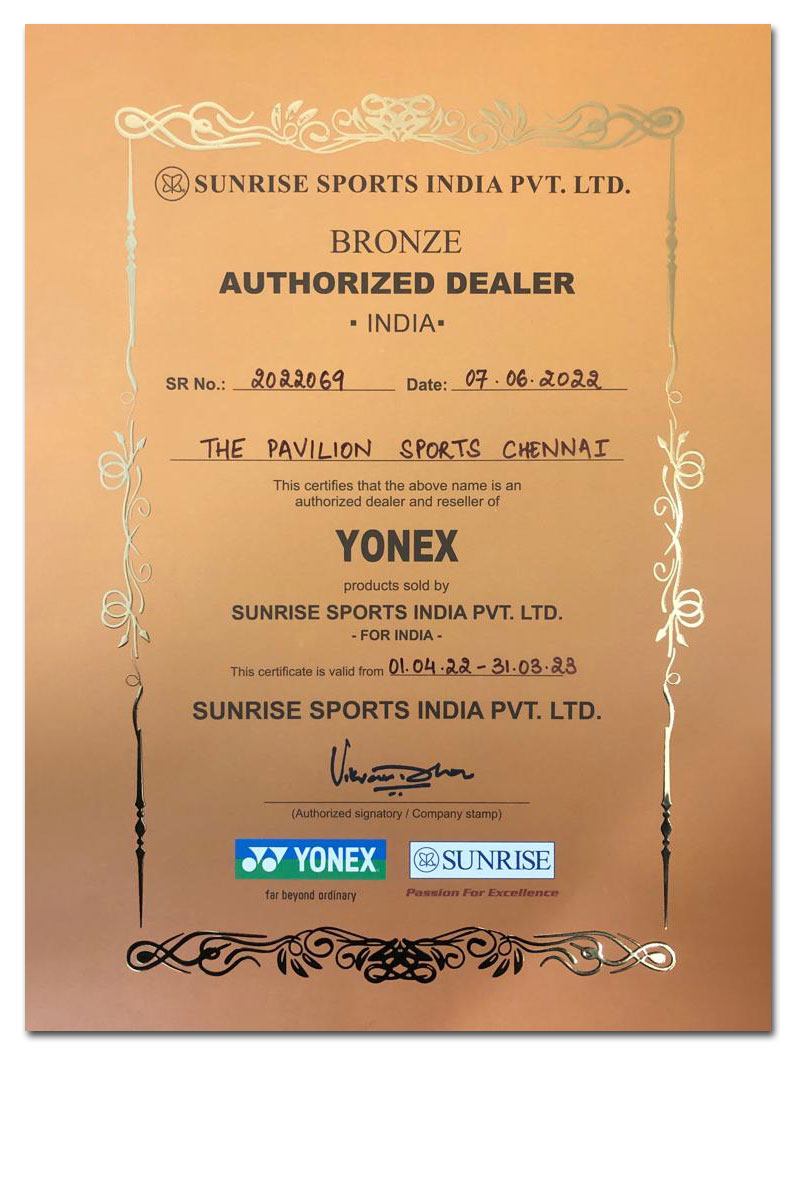 Yonex Authorized Dealer Certificate