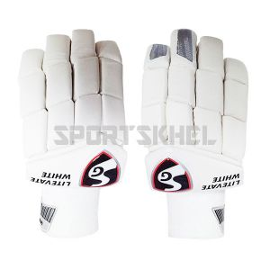 SG Litevate White Batting Gloves Junior