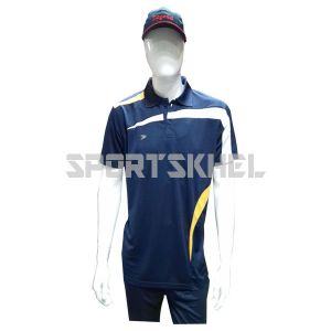 Cenmax Navy Golden Yellow White Half Sleeves T-Shirts