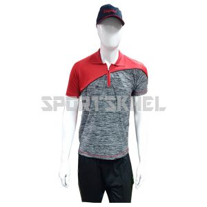 Cenmax Millange Charcoal Red Half Sleeves T-Shirts