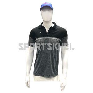 Cenmax Black Millange Black Silver Half Sleeves T-Shirts