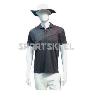 Cenmax Dark Grey Red Half Sleeves T-Shirt