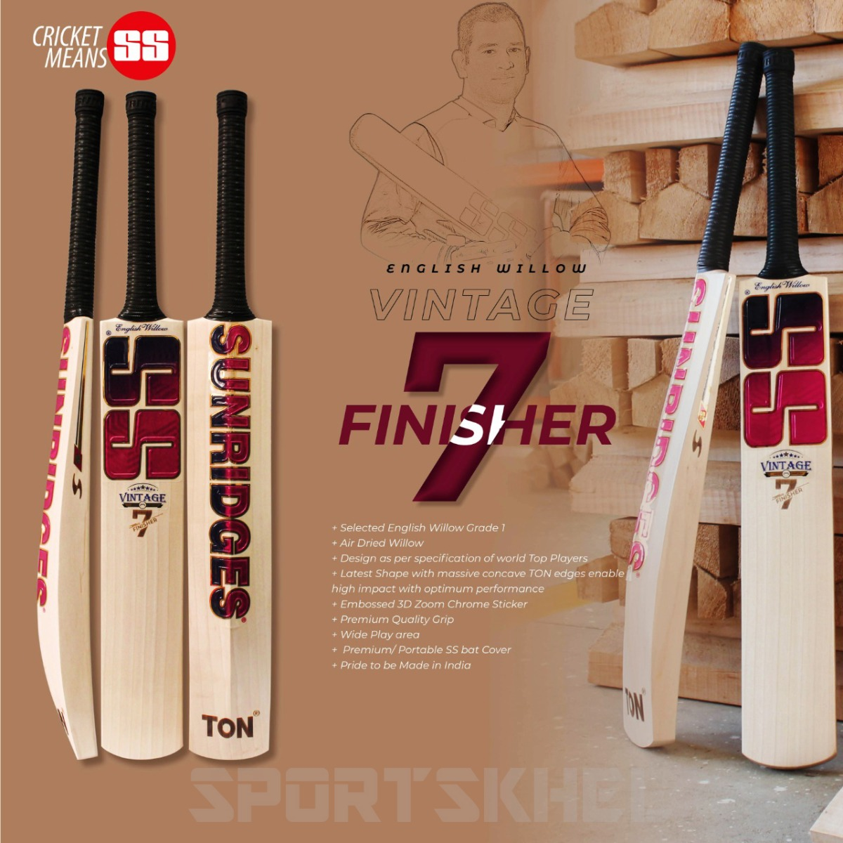 SS Vintage 7 Finisher English Willow Bat Features