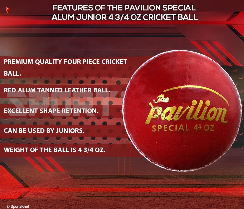 The Pavilion Special Alum Junior 4 3/4 OZ Cricket Ball Features
